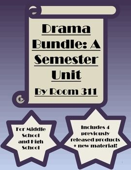 I brought together a variety of assignments to help you as you plan your middle or high school drama class! This bundle contains four previously published products, including: 1) Analyzing Movies: A Unit for your Drama Class 2) Student Created Scenes and Plays for Drama 3) Pantomimes for Middle and High School Drama Classes 4) Drama Assessments and Rubrics I have also included new material such as notes and general assignments .