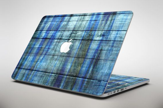 Blue and Green Tye-Dyed Wood – Apple MacBook Air or Pro Skin Decal Kit (All Vers…   – Products