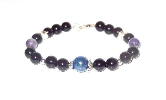 FREE SHIPPING, Beaded bracelet,Men Stone Bracelet,Gemstone bracelet,Nautical bracelet,Unisex bracelet,Anchor bracelet,Men's bracelet, gift