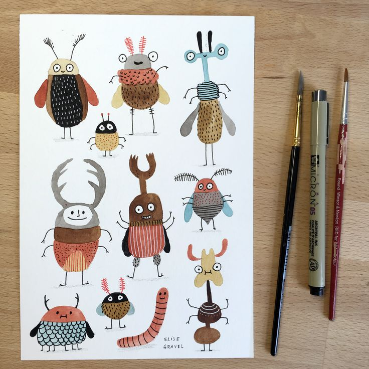 Elise Gravel : : Bugs           watercolor, beetles, characters, illustration, cute, creatures, drawing