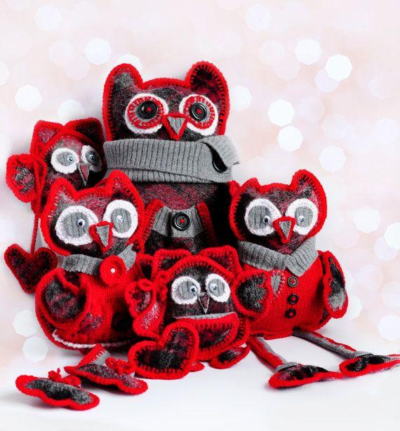 Мягкие игрушки, вязаные игрушки, красный Совы Семья, рождественские подарки, вязать чучел, ручной работы Вязаные игрушки, вязаные игрушки Животные, Дизайн интерьера