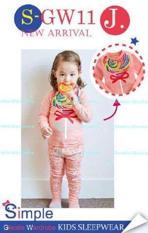 GG114 Pejamas Anak/ Baju Tidur Anak Lolipop Peach SGW11J Size 8th 9th 10th 12th 13th Rp 87.000 (ready)