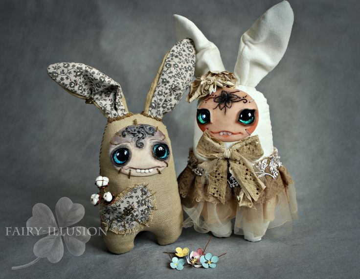 Cute and crazy monster doll, a fairy creature from Fairy-Illusion. Handmade, author's doll. DIY-dolls-doll monster- interior doll-goods.  bunny. Кролик, заяц
