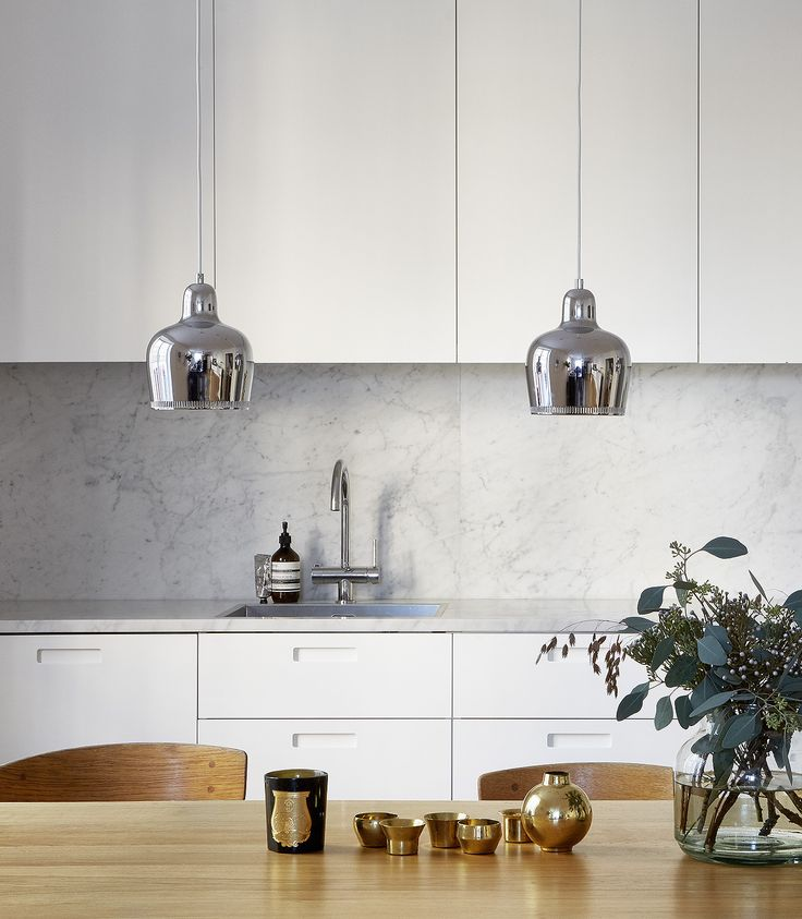 Beautiful living kitchen - via cocolapinedesign.com. featuring Artek A3305 Pendant Light: https://www.utilitydesign.co.uk/artek-a330s-pendant-light