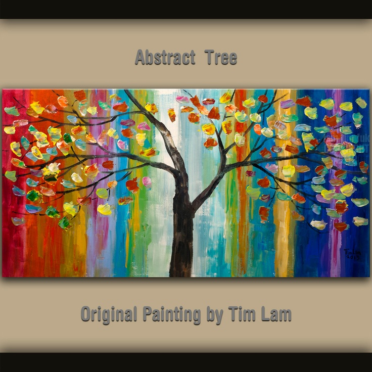 rainbow canvas art with tree | ORIGINAL Rainbow Color Tree art abstract Large heavy Impasto Palette ...