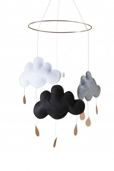 Sky mobile in black, grey and white | Nubie - Modern Baby Boutique