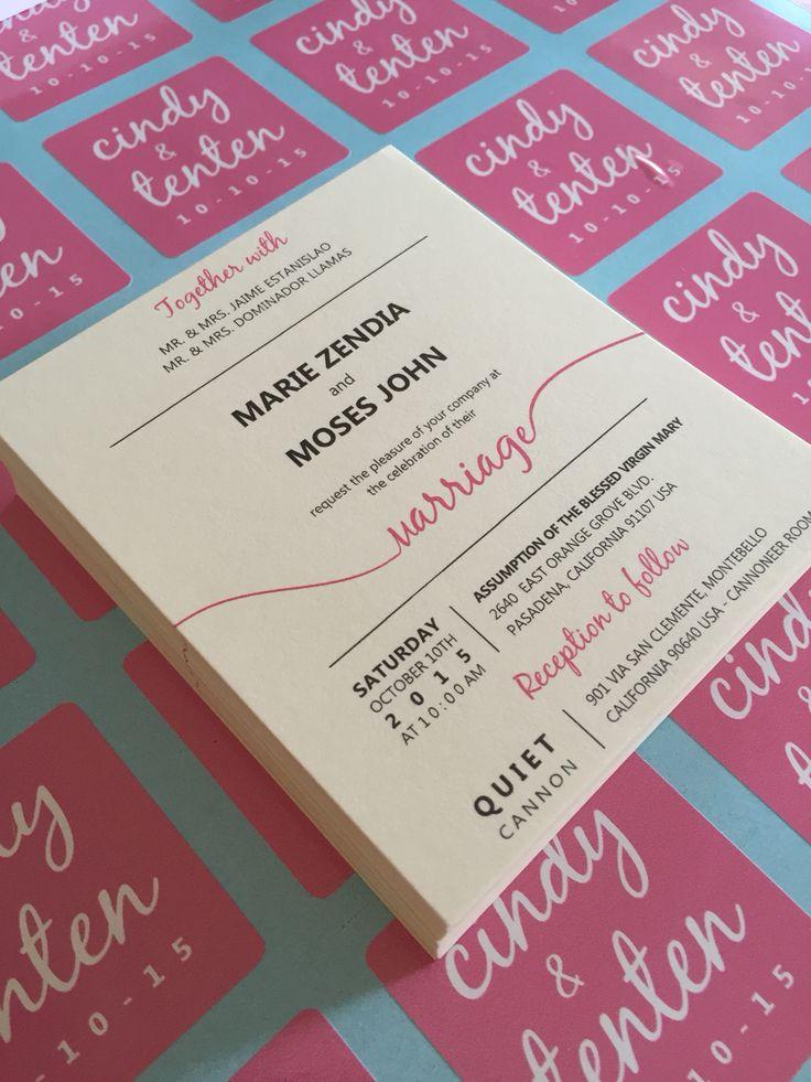 wedding invitation, script, modern, pink