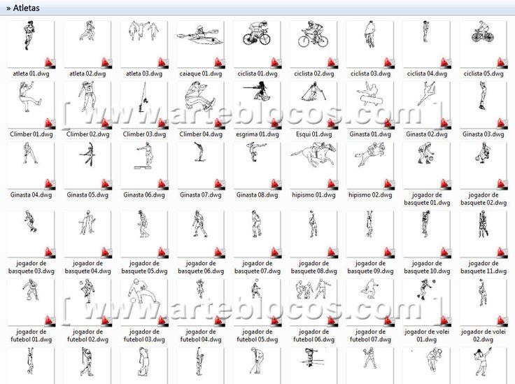 Blocos autocad para atletas, jogador de basquete, futebol, futsal, volei, ginasta, ciclista, esqui, esgrima, hipismo, caiaque, etc.  Blocos DWG. http://www.arteblocos.com/