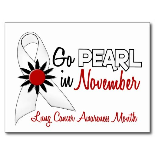 Lung Cancer Month | Lung Cancer Awareness Month Pearl Ribbon 1.2 Post Cards