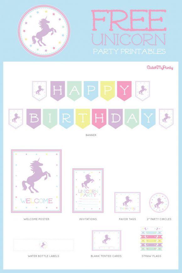 Free Unicorn Birthday Party Printables Catchmyparty Com Unicorn Birthday Invitations Printable Unicorn Birthday Invitations Birthday Party Printables