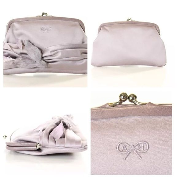 """Anya Hindmarch clutch Anya Hindmarch purple silk clutch with bird and feather. Height 5"""" width 8"""" depth """" Anya Hindmarch Bags Clutches & Wristlets"""