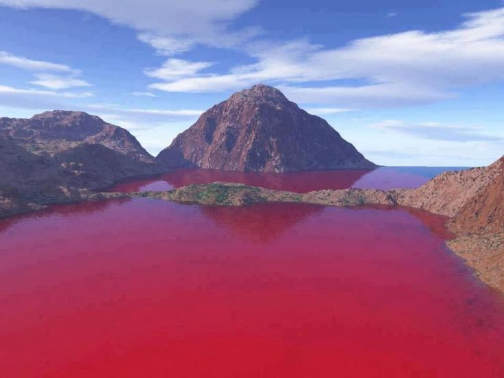 Blood Lake, West Texas. The bloody look is the result of Chromatiaceae bacteria, which turn red in oxygen-deprived water! - Imgur