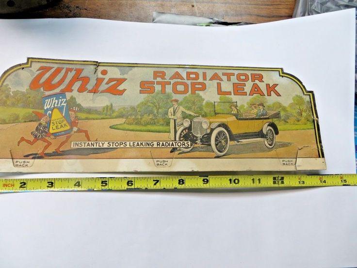 Vintage 1915-19 Whiz Radiator Stop Leak Cardboard Sign Original,RARE, No Reserve