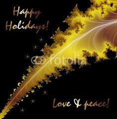 Happy holidays and golden leaf