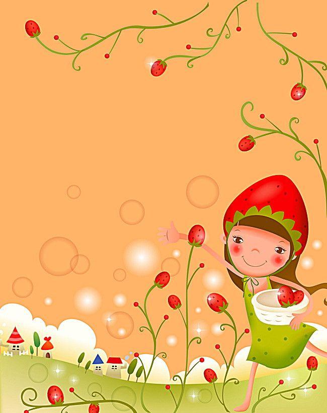 La fille de dessins animés, Dessin, Jeune Fille, Cueillir Les Fruits, l'image de fond