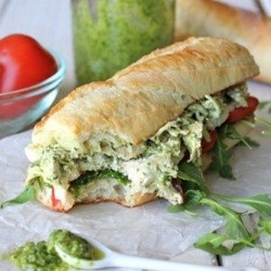 -- Chicken pesto sandwich on a freshly baked baguette with arugula ...