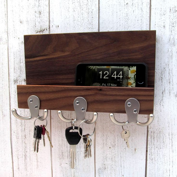 Excited to share the latest addition to my #etsy shop: Modern mail and key holder for wall, wood key rack, walnut entryway organizer, key storage, leash hanger, mail organizer, key hanger. #storage #housewarming #christmas #wallmailorganizer #woodkeyrack