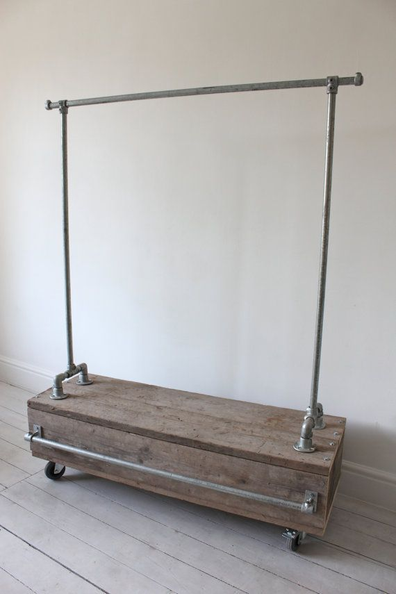Galvanised Steel Pipe Clothes Rail with Reclaimed Scaffolding Wood Drawer Unit - Bespoke Urban Industrial Bedroom Furniture or Shop Fittings... www.inspiritdeco.com