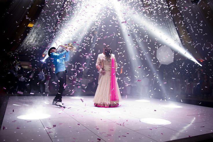 First Dance,confetti shower, saxophone player, spot light.   info@karizmaroadshow.com