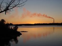 Sunset skyline of Sudbury, Ontario, Canada, with the Inco Superstack