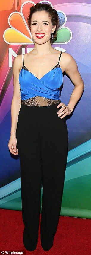 Looking good: Nichole Bloom and Marina Squerciati opted for trousers while at the NBC pres...