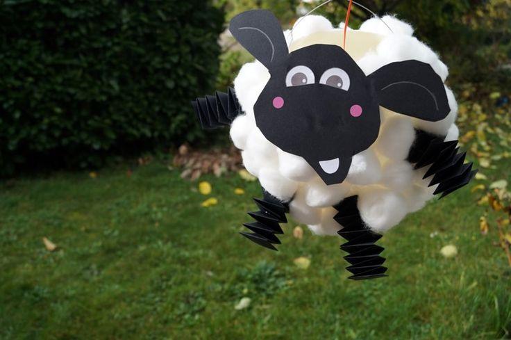 Schaf Laterne basteln Luftballon