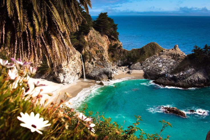 15 Secrets of California's Coastline  A waterfall that spills onto a beach Julia Pfeiffer Burns State Park, Big Sur There's nothing quite like a waterfall. Especially when that waterfall is located in one of California's coolest towns and cascades DIRECTLY ONTO A BEACH. McWay Falls in Big Sur is actually quite close to the road, but you'd never know it was there unless you were looking for it. Fun (or maybe not-so-fun) fact: the 80ft falls used to pour down the steep granite cliff and…