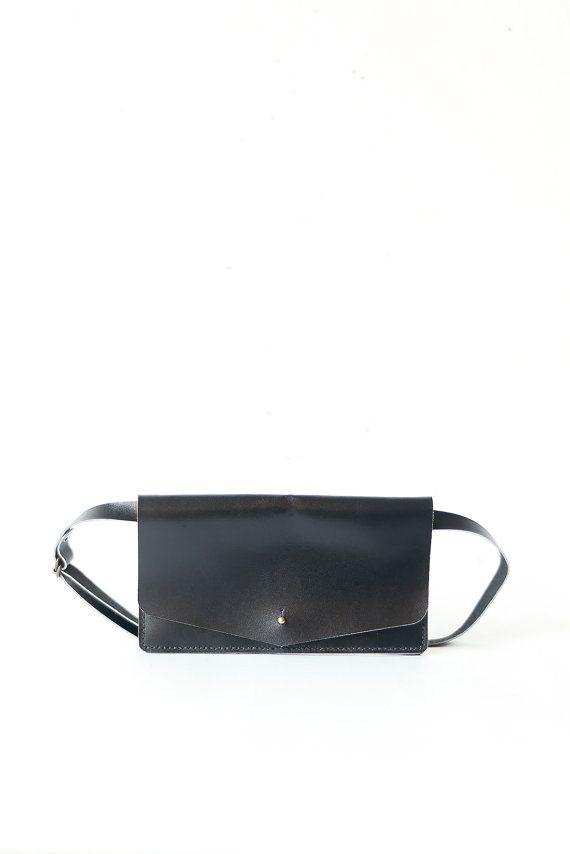 Minimalist black belt bag
