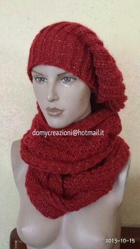 Cappello donna e sciarpa circolare in lana mohair .... cowl and hat
