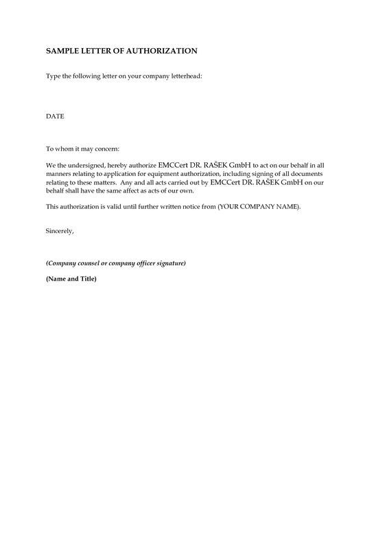 Sample Medical Authorization Form sample medical authorization – Letter of Authorization Form Example