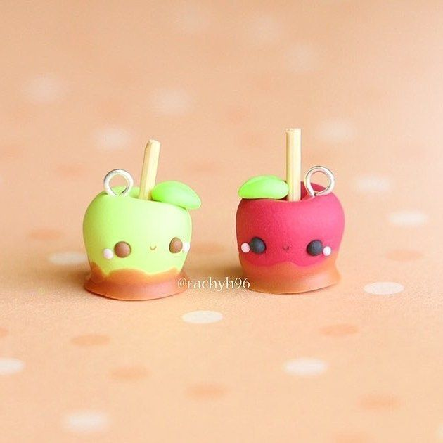 #kawaii #charms #polymer #clay #toffee #apples
