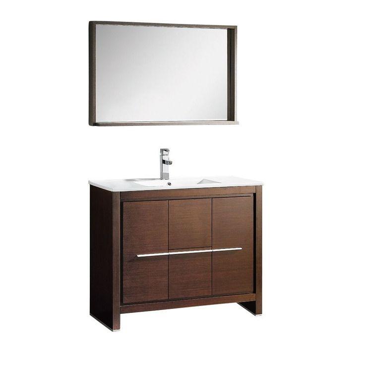Fresca Allier 40-inch Wenge Brown Modern Bathroom Vanity with Mirror (Wenge Brown), Size Single Vanities