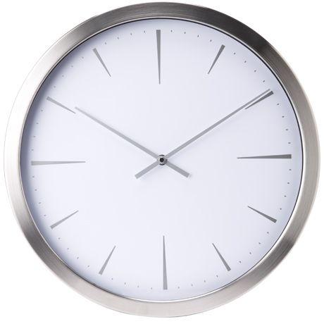 Tempo Clock 41cm Chrome White