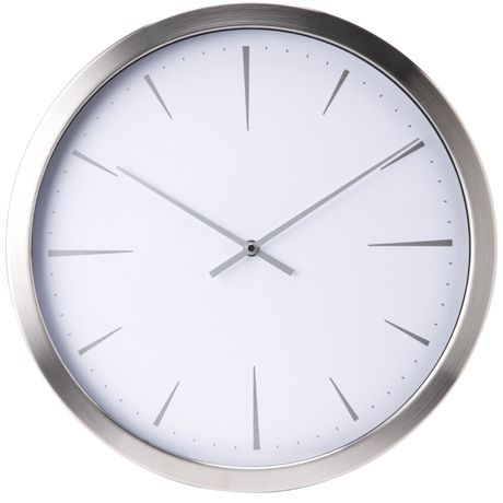 Tempo Clock 41cm Chrome White