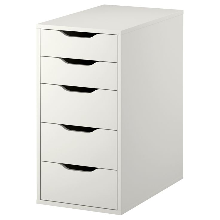 "VIKA ALEX Drawer unit - IKEA - $79.99 - Width: 14 1/8 ""  Depth: 22 7/8 ""  Height: 27 1/2 ""  (use two of these spread apart to act like legs, place board across top for desk - one side for makeup, other for miscellaneous junk)"