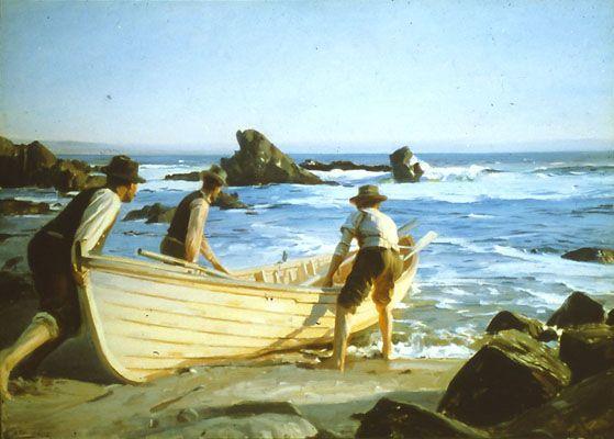 """Benito Rebolledo, """"Saliendo de pesca"""". Pintura chilena."""