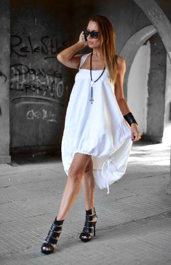 Handmade White Linen Dress, Oversize Linen Dress, Ladies Short Dress, White Dress Women, Summer Dress, Loose Plus Size Dress - DR0175LE