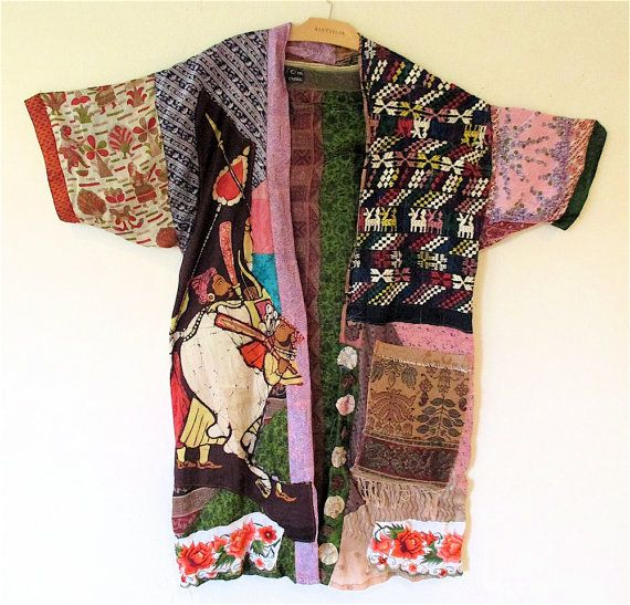 Silk Patchwork Kimono Robe Wearable Art Duster  PRIMITIVE NATIVE TRIBAL  ETHNIC MyBonny