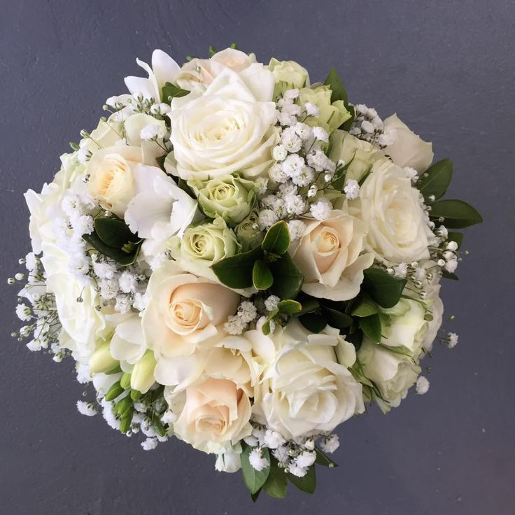 Tradition styled cream and white bridal, brides bouquet with roses, freesias, babies breath and fresh greenery. www.madisoninbloom.com.au https://www.facebook.com/MadisoninBloom/ https://www.instagram.com/madisoninbloom/