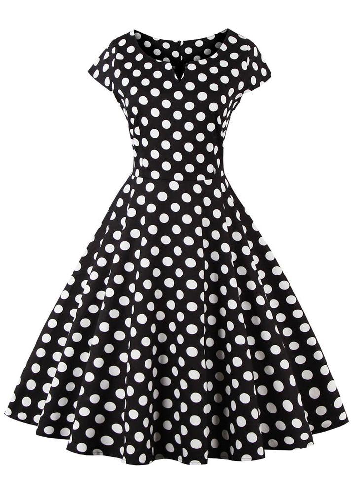 Retro Style Polka Dot Print Dress