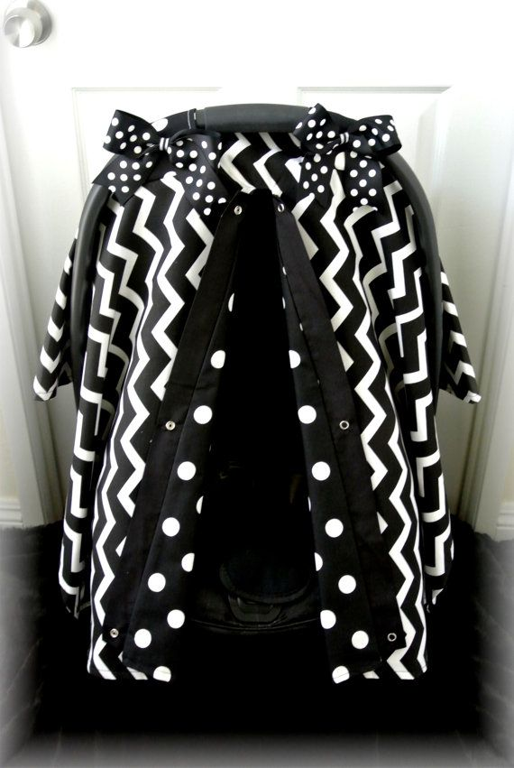 carseat canopy car seat cover black white by JaydenandOlivia