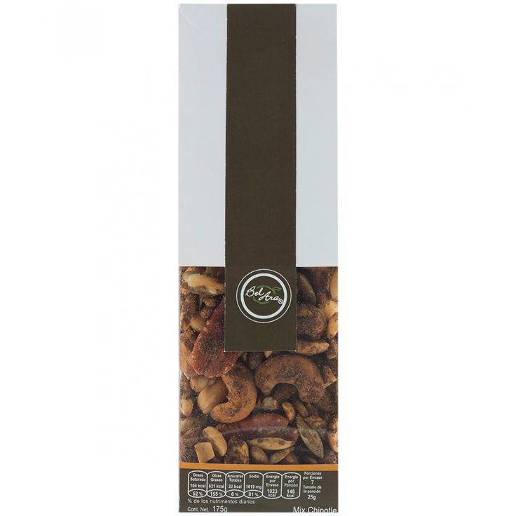 Mix Chipotle Bel-Ara. Cacahuate semilla de calabaza semilla de girasol nuez de la India nuez pecana chipotle en polvo mezcla de sazonadores aceite vegetal ácido cítrico y goma arábiga.