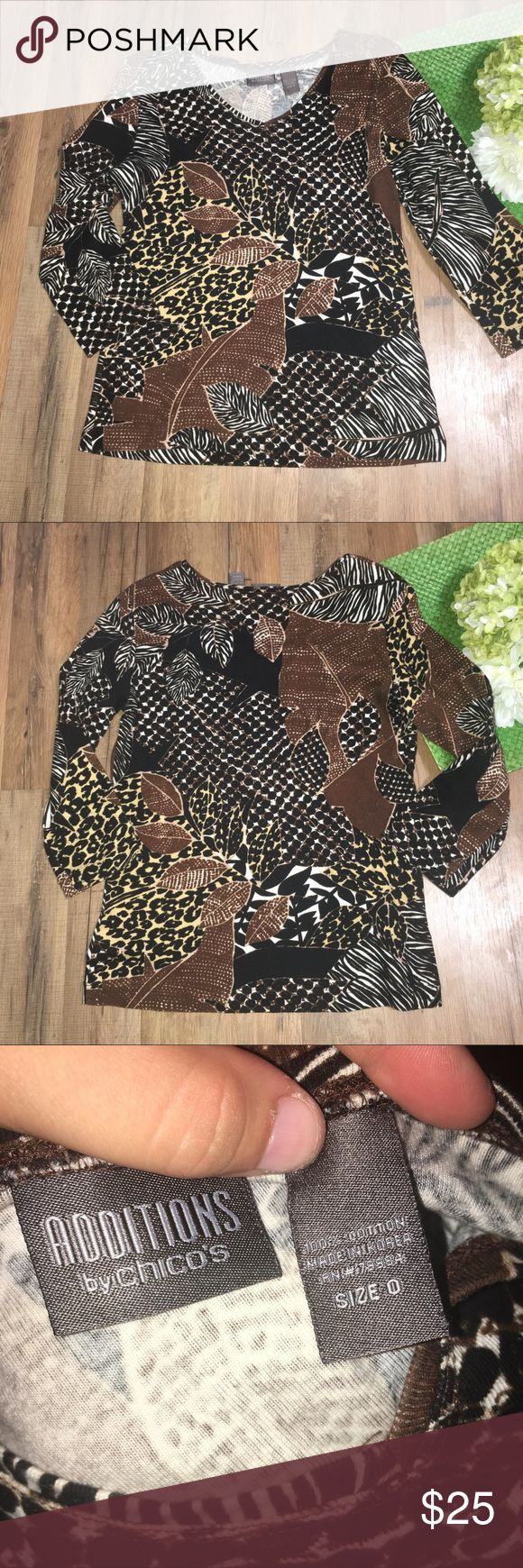 CHICO'S | leaf animal print tee Length: 23"