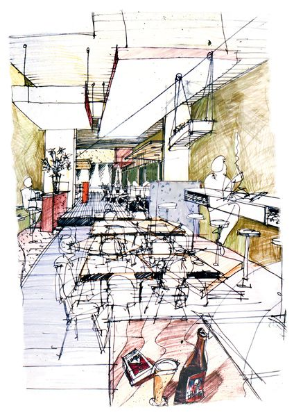 Sketch for the interior of Meyers Place, by Six Degrees http://decdesignecasa.blogspot.it