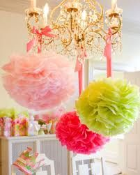 I love these Green & Pink.. and Tissue Pom-Poms!