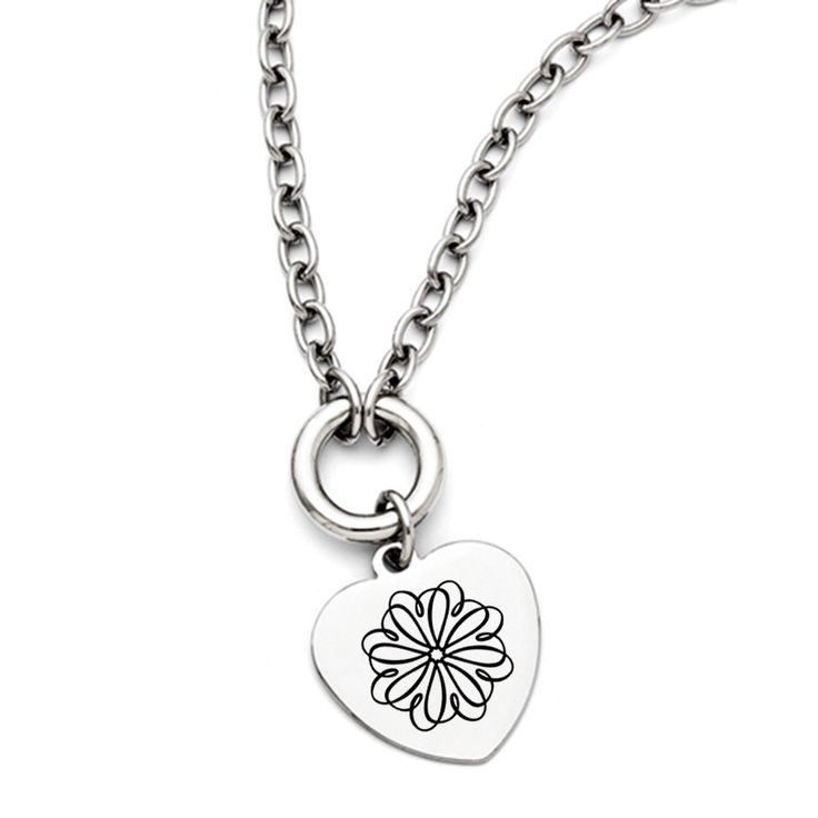 Sigma Kappa Symbol Stainless Steel Heart Necklace With Free Shipping