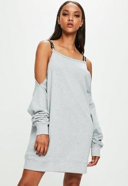 Londunn + Missguided Grey Cold Shoulder Jumper Dress