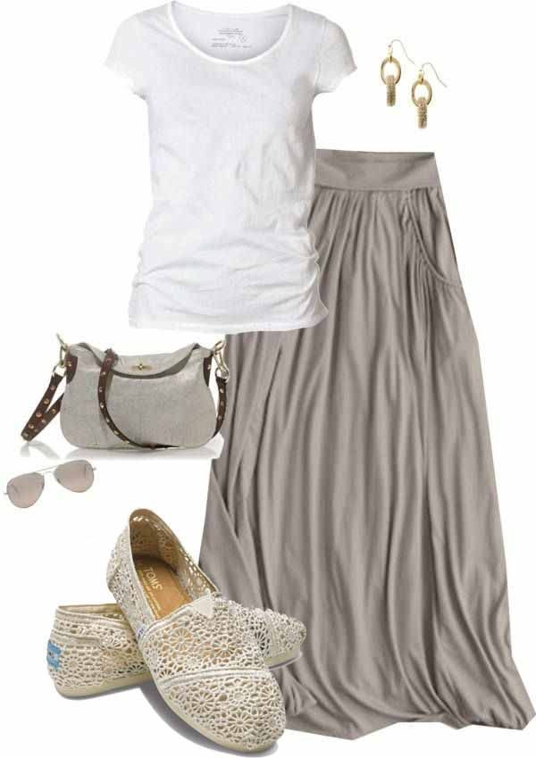 Summer style - maxi skirt and white shirt... IN LOVE