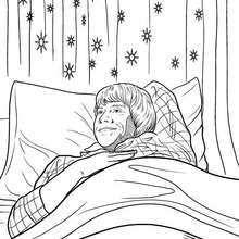 coloriage harry potter ron dans son lit