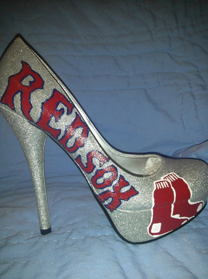 Custom Painted Silver Shoes - Red Sox - Any Size. $200.00, via Etsy.